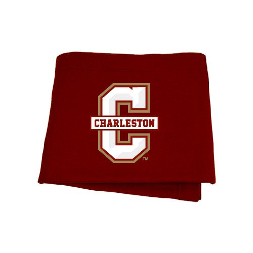 College of Charleston Maroon Sweatshirt Blanket 'Official Logo - C Charleston' by CollegeFanGear