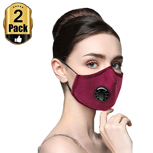 Yamde 2Pcs Dust Respirator N95 N99 Breathing Anti Pollution Mask For Men & Women - Reuseable Washable Air Pollution Travel Mask with 4 Activated Carbon Filters, by Velvet fabric (Rose red)