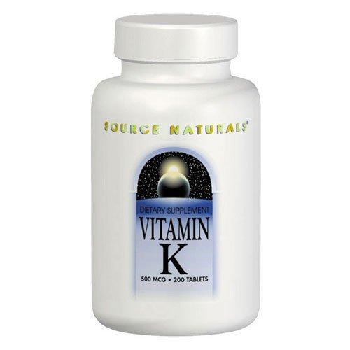 Source Naturals vitamine K, 200 Onglets 500 MCG