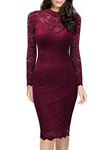 Miusol Women's Retro Floral Lace Long Sleeve Slim Evening Cocktail Mini Dress