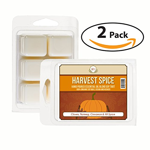 Aira Fall Wax Melt - Organic, Vegan, Kosher, Scented Soy Wax Cubes w/ Essential Oil Blends - No Chemical 100% Soy Wax Melts for Electric/Tealight Melter - Hand-poured Soy Tarts - Harvest Spice -2 Pack