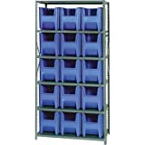 Quantum Storage Giant Hopper Bins With Shelf Unit - 36in.W x 18in.D x 75in.H Rack Size, Blue, Model# QSBU-600
