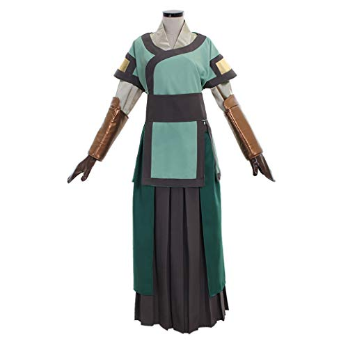 DUNHAO COS Anime Women's The Last Airbender Avatar Kyoshi Uniform Suit Cosplay Costume XL Green]()