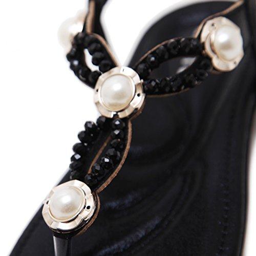 Women's Beaded Beauty Flat Sandals Bohemian Summer Thong Pearl D2C 3 Black BwSq64