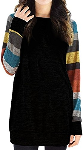 PinupArt Women's Color Block Long Sleeve Sweatshirt Cotton Jersey Tunic Tops blackyellow XL= US10-12