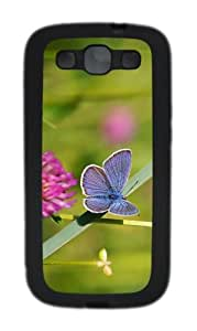 glitter covers Blue Butterfly TPU Black case/cover for Samsung Galaxy S3 I9300