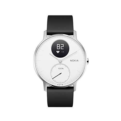 Nokia Steel HR Hybrid Smartwatch – Heart Rate & Activity Tracking Watch, White, 36mm, up to 25 Days long-lasting Battery Life, Swim Proof with Soft Silicone Interchangeable - Best Tracking Overnight