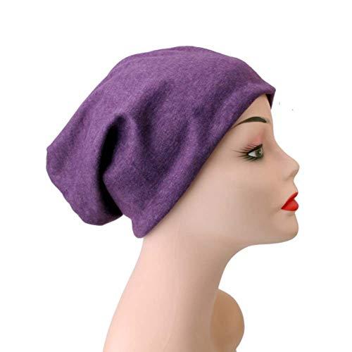 Unisex Winter Warm Knit Beanie Reversible Multifunction Casual Hat residentD (Purple)