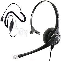 Best Sound Customer Service landline Monaural Phone headset + Cisco Avaya Panasonic Polycom Mitel and Other Phones RJ9 Headset Adapter with Plantronics compatible QD