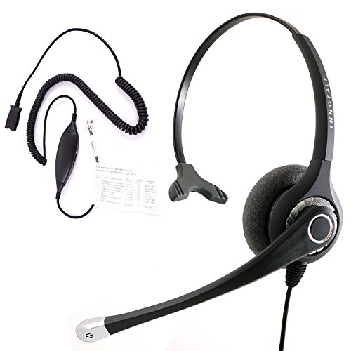 RJ9 Headset - Best Sound Phone headset + Cisco Avaya Panasonic Virtual Compatibility RJ9 Quick Disconnect Headset Cord compatible with Plantronics QD by InnoTalk