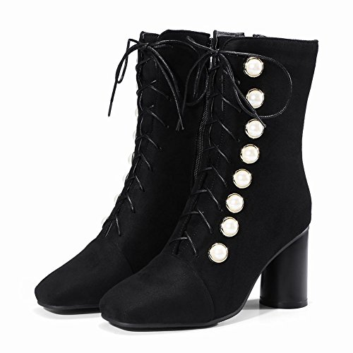 Mee Shoes Women's Fashion Zip Mid Block Heel Mid Calf Boots Black 3xPYFlc
