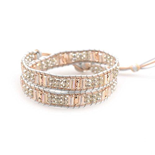 M&B Multi-Layered Crystal Beaded Bijou Wrap Leather Bracelet Accessory (Peach and Silver) 002-000-MB