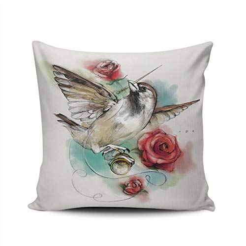 XIAFA Sparrow Roses and Thimble 16x16 Inch Square Stylish Design Throw Pillow case Cushion Cover Double Sided Printed (Pack of 1)