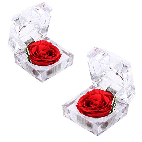 HAN SHENG 2 Pcs Handmade Preserved Fresh Eternal Real Flower Rose with Acrylic Crystal Ring Box Unique Gifts for Valentine's Day,Mother's Day,Anniversary,Birthday,Thanksgiving Day (Red Rose)
