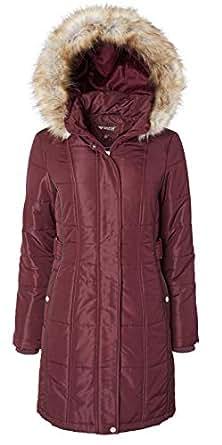 Women's Long Down Alternative Puffer Coat Detachable Plush Lined Fur Trim Hood - Red - Small