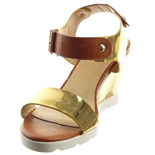Sopily - Zapatillas de Moda Sandalias Abierto Zapatillas de plataforma Caña baja mujer brillantes Hebilla Talón Plataforma 8 CM - Oro