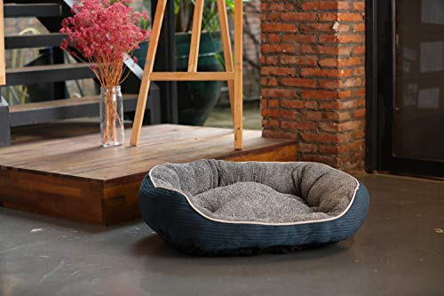 Laifug Dog Bed/Pet Bed | Oval Pet Bed for Dogs & Cats (Durable Non-Slip Base,Medium 28''x22''x9'', Blue)
