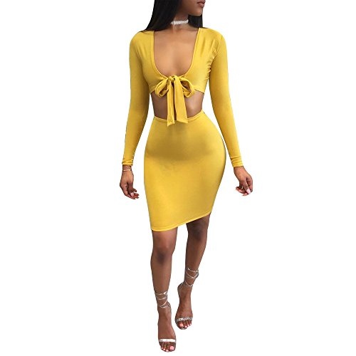 Womens Summer Sexy 2 Pieces Outfits Deep V-neck Long Sleeve Tank Top + Midi Skirt Set Bandage Club Dress (M,