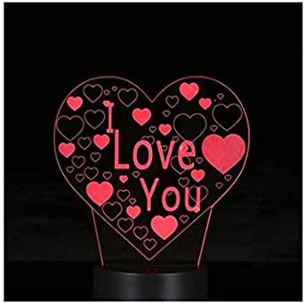 I love you Design 3D LED Illusion Colorful Table Night Light with Remote Control