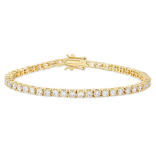 Dolce Giavonna Cubic Zirconia Classic Tennis Bracelet, 7.25'' (Gold) by Dolce Giavonna (Image #5)