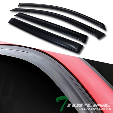 (Topline Autopart Smoke Window Visors Deflector Vent Shade Guard 4 Pieces For 07-13 Acura)
