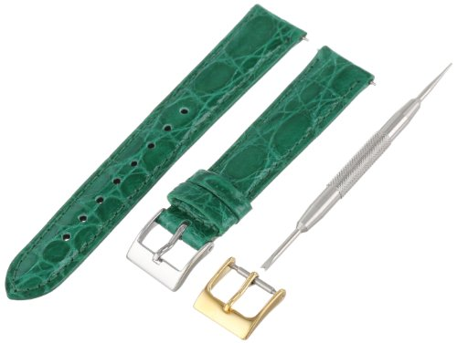 Artisan of Italy CITQR100-2116LR Women's Fashion Quick-Release Padded Crocodile 16mm Emerald Watch (Emerald Mens Watch)
