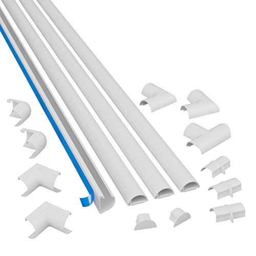 D Line White Medium Cord Cover Kit 13ft Self Adhesive Wire Hider Cable Raceway To Hide Wires On Wall Cable Management 4 X 39in Lengths And Accessories