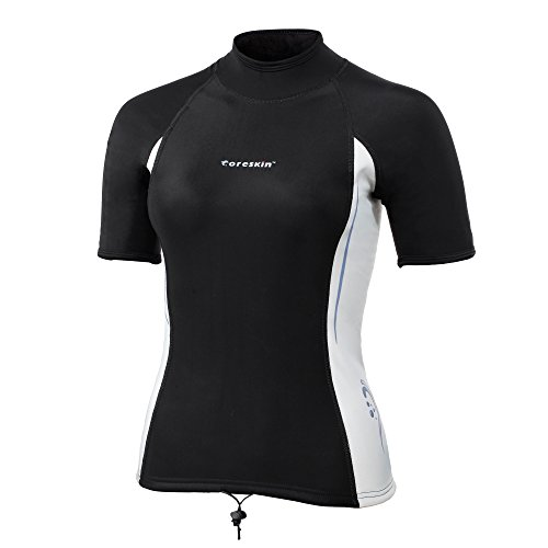 Coreskin Wetsuits Women's Polyolefin UV Protective 3mm Short Shirt Surfing Padding Diving Rash Guard Shirt Mesh Skin Shorts(US (Polyolefin Rash Guard)