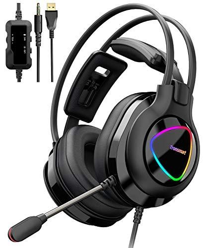 🥇 Tronsmart Alpha-glary Auriculares Gaming PS4 50mm Estéreo Envolventes con Micrófono Plegable-Ajustables Espuma-RGB Cascos Gaming 3