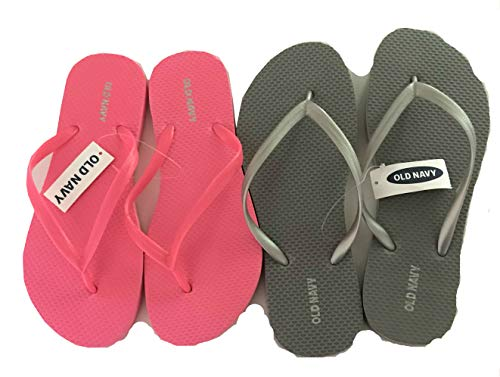 Old Navy Flip Flop Sandals for Woman, Great for Beach or Casual Wear (9, Silver and Pink) from Old Navy