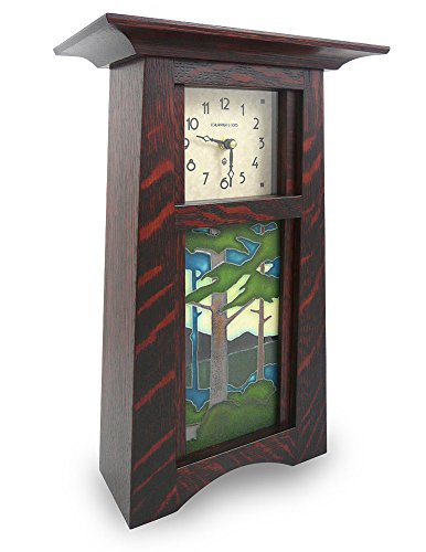 Clock Wood Tabletop (American Made Tall Craftsman Style Mantel/Shelf Clock With Pine Forest Handmade Tile, Oak Wood, 15