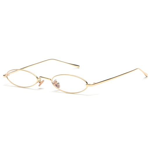 5f7aecef4a Kachawoo small oval glasses frame men gold metal frame retro optical glasses  women (gold with