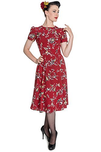 Hell Bunny New Birdy Vintage Landgirl 40's Dress (S - US 6, Red)