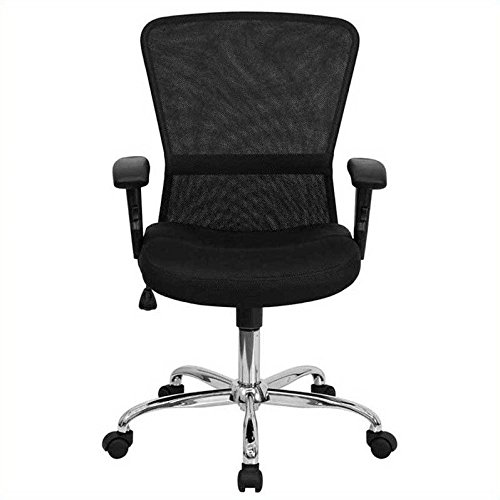 Flash Furniture Mid-Back Black Mesh Contemporary Swivel Task Chair with Chrome Base and Adjustable Arms (Contemporary Virginia Furniture)