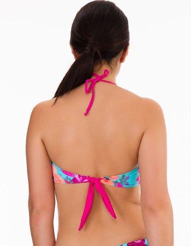 Womens Mio Swim Blue and Pink Floral Print Ladies Bikini Bandeau Top