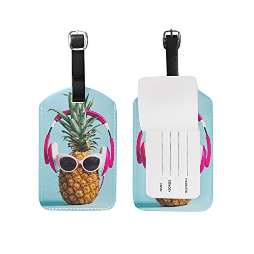 Chen Miranda Pineapple Headphones Glasses Luggage Tag PU Leather Travel Suitcase Label ID Tag Baggage claim tag for Trolley case Kid's Bag 1 Piece ()