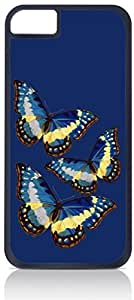 Butterflies on Navy - Case for the Apple Iphone 4-4s Universal-Hard Black Plastic Outer Shell with Inner Soft Black Rubber Lining wangjiang maoyi by lolosakes