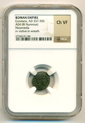 - 337 TR Roman Empire - Constans AD 337-350 Nicomedia Mint rv votive AE4 Nummus Choice Very Fine NGC