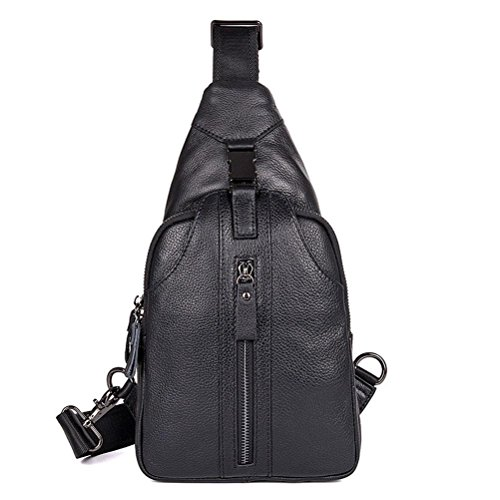GTUKO JMD Hombres Bolso De Hombro Pequeño Teléfono Celular Flap Cuero Genuino Sling Bag 4007A , Black black