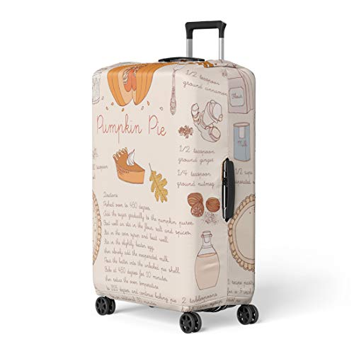 Pinbeam Luggage Cover Fall Pumpkin Pie Recipe Thanksgiving Day Autumn Slice Travel Suitcase Cover Protector Baggage Case Fits 26-28 inches