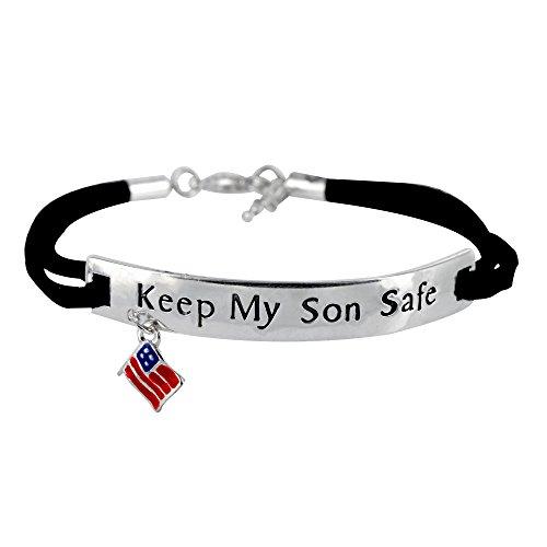 Keep My Son Safe Flag Charm (Military Navy Bracelet)