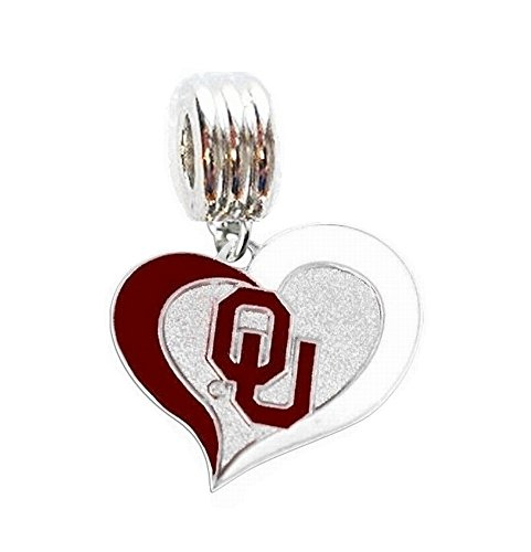 Heavens Jewelry OU University of Oklahoma Sooners Heart Charm Slide Pendant for Your Necklace European Charm Bracelet (Fits Most Name Brands) DIY Projects ETC