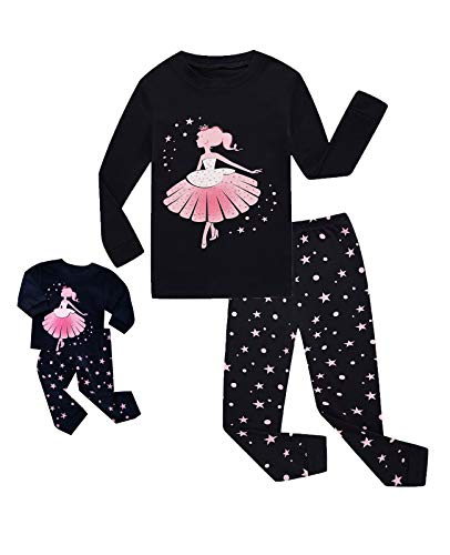 Babyroom Girls Matching Doll&Toddler Christmas 4 Piece Cotton Pajamas Toddler Kids Clothes Sleepwear 7T