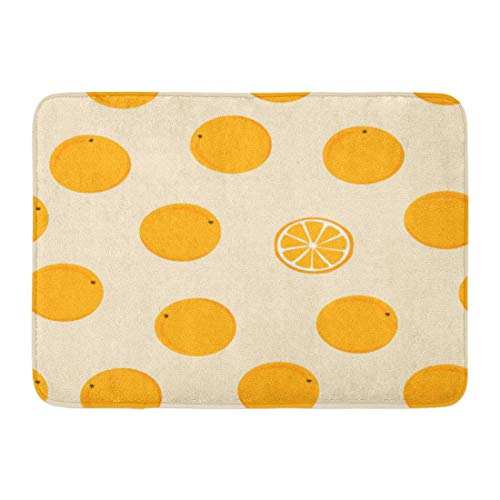 Bath Mat White Tangerine Ripe Fruit on Plain Pattern Mandarin with with Oranges Rain of Citrus Yellow Watercolor Bathroom Decor Rug 15.7