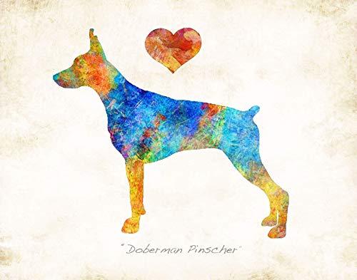 (DOBERMAN PINSCHER Dog Breed Watercolor Art Print by Dan Morris)