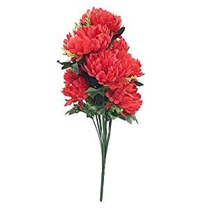Macrorun Silk Artificial Flowers Bouquet Simulation Real Touch Flower Floral Photography Props Home Party Wedding Decoration (Red Chrysanthemum) 79