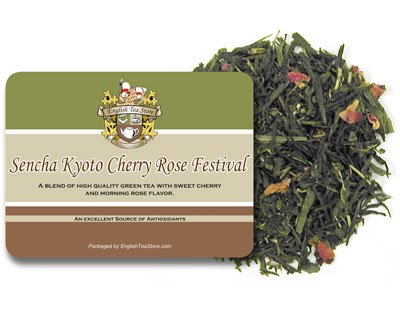 English Tea Store Green Loose Leaf Tea, Sencha Kyoto Cherry Rose Festival, 16 Ounce