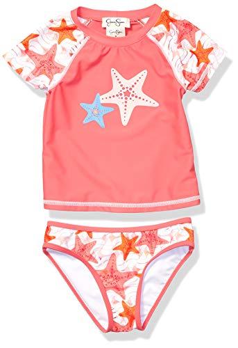 Jessica Simpson Big Girls' 2-Piece Rashguard and Bikini Bottom Set, Pink Star Print, 8