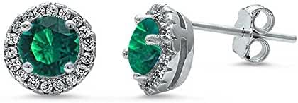 Halo Simulated Green Emerald & Cubic Zirconia Stud .925 Sterling Silver Earrings