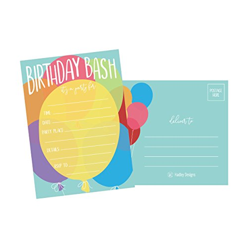 25 Balloon Rainbow Party Invitations for Kids, Teens, Adults, Boys & Girls, Blank Children Happy 1st Birthday Invitation Cards, Unique Baby First Bday Invites, Toddler 1 2 3 Year Old Invites Fill In